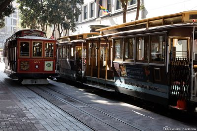Several Cable Cars at the final stop