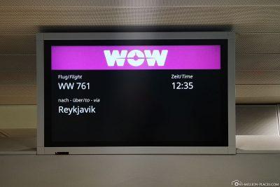 Abflug nach Reykjavik