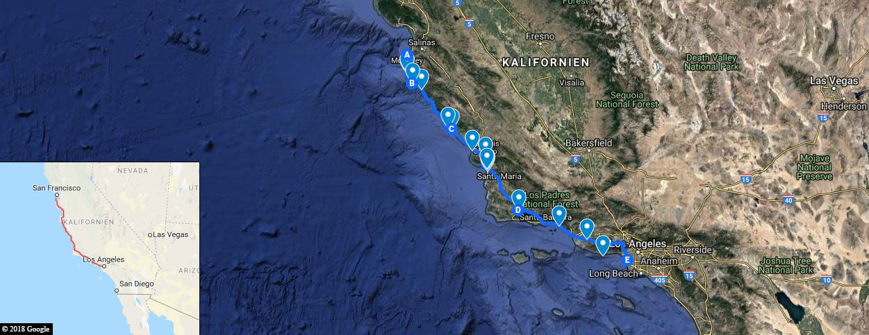 Highway 1, Map, Photo Stops, GoogleMaps, California, USA