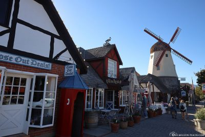 Half-timbered architecture and windmill in Solvang