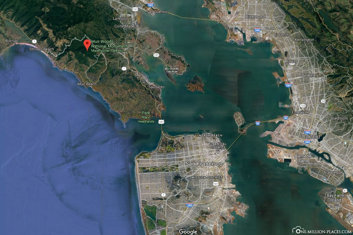 Location, Google Earth, Muir Woods, Google Maps, Location, Map, San Francisco, USA