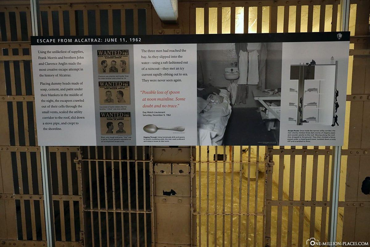 Geschichte Ausbruch, Zellentrakt, Zellengebäude, Alcatraz, Gefängnisinsel, Hochsicherheitsgefängnis, Tagestour, Ausflug, Alcatraz Cruises, San Francisco, Kalifornien, USA, Reisebericht