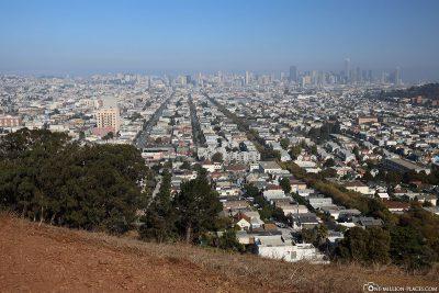 Blick vom Bernal Heights Park auf San Francisco