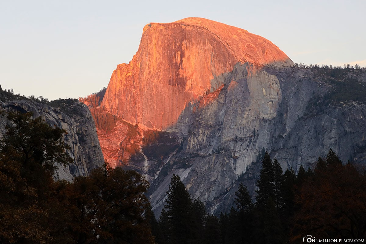 Sunset, Half Dome, Yosemite National Park, Attractions, California, USA, Travel Report