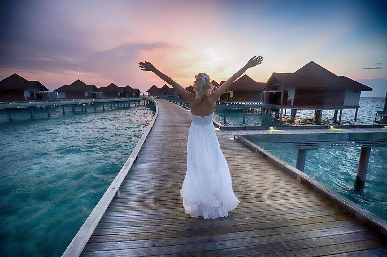 Maldives, Wedding Dress, Photo shoot, Sunset