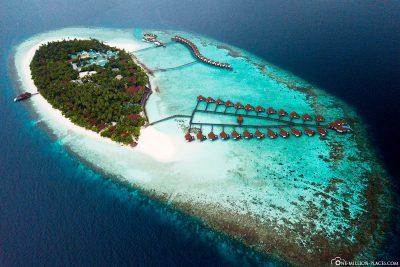 Luftaufnahme des Robinson Club Malediven
