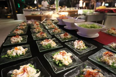 Appetizers at the evening buffet