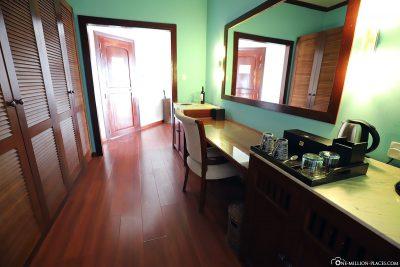 Wardrobe, fridge and coffee corner