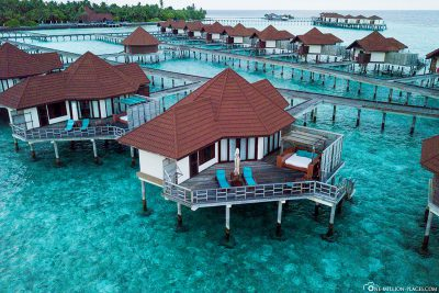 Aerial view of our Overwater bungalow