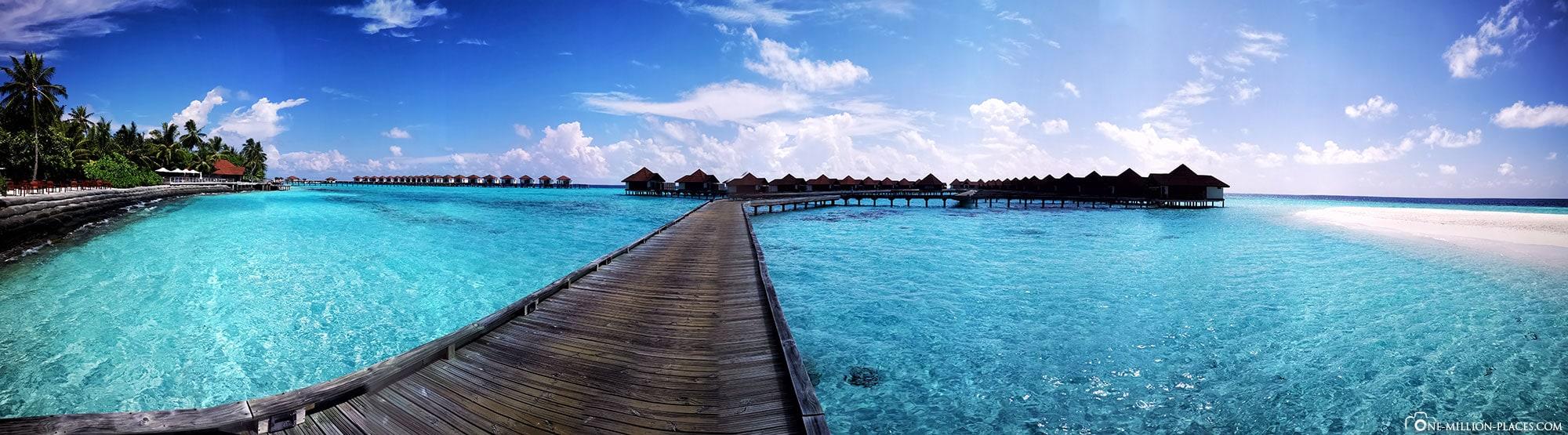 Panoramic jetty, water bungalow, Overwater bungalow, BUM2, ROBINSON Club Maldives, Maldives, Gaaf-Alif-Atoll, travelogue