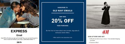 Coupons for the newsletter registration