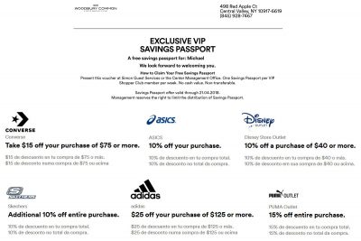 Examples of discount coupons in Simon Malls