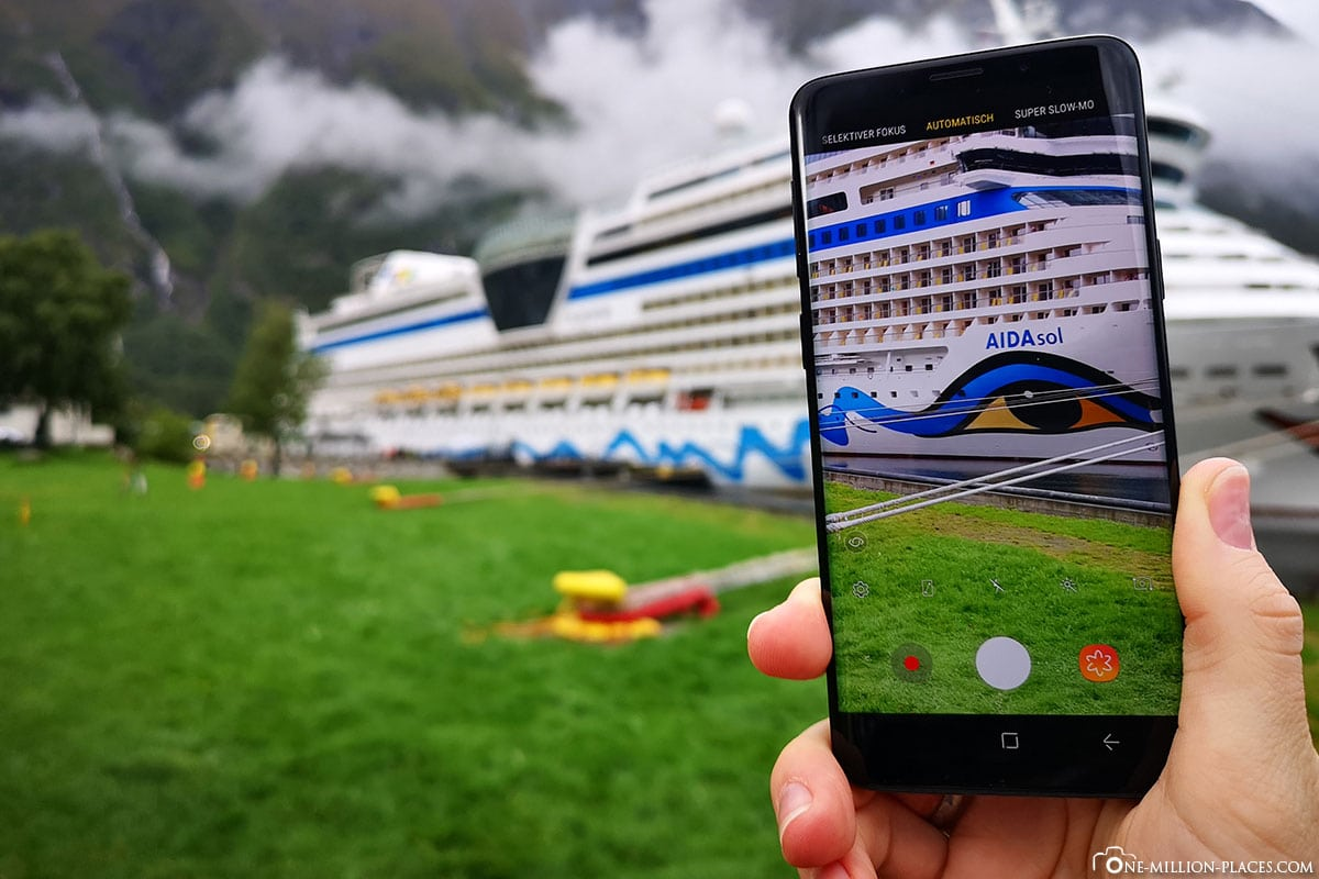 Picture in pictures, mobile phone photo, AIDAsol, Norway, Eidfjorn