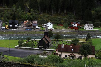 The wooden church in Flam from 1667