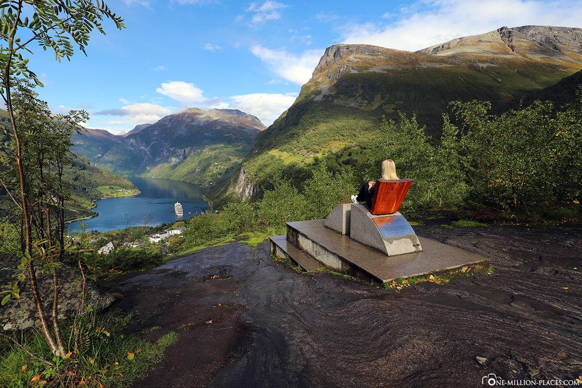 Geiranger, Flydalsjuvet, View, Chair, Geirangerfjord, Observation Deck, Fotospot, Norway