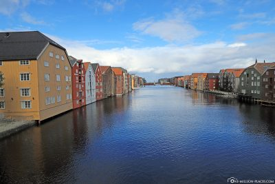 View of the river Nidelva and the storage houses from the old city bridge