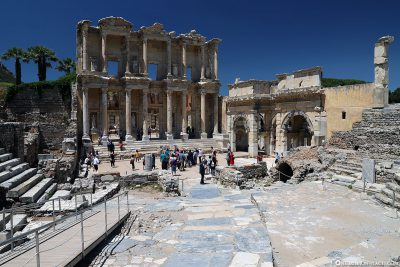 The Celsus Library with the South Gate of the Agora