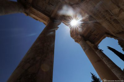 The pillars of the library facade