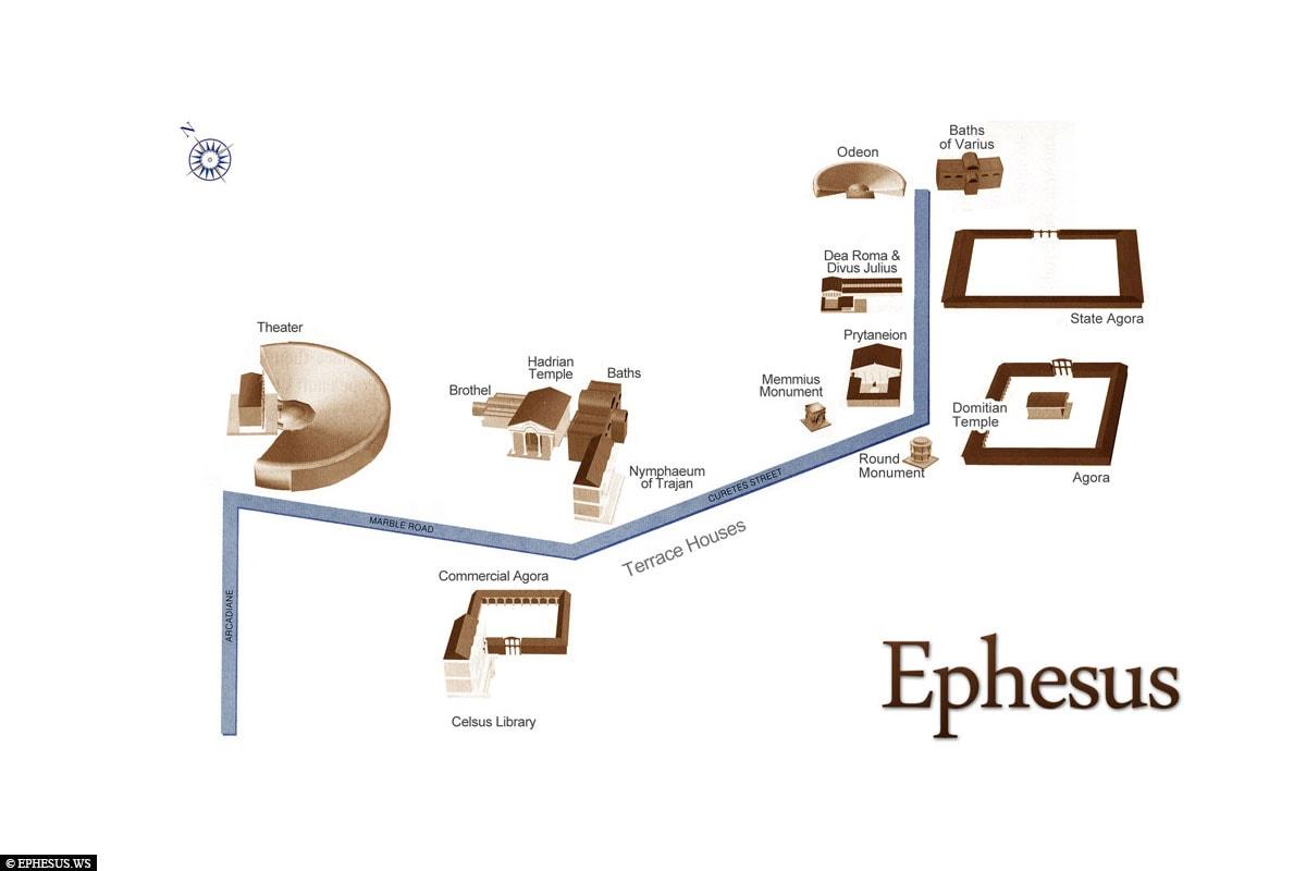 Map, Map, Ephesus, Ruins, Archaeological Site, UNESCO World Heritage Site, Turkey, Aegean Coast, Cruise
