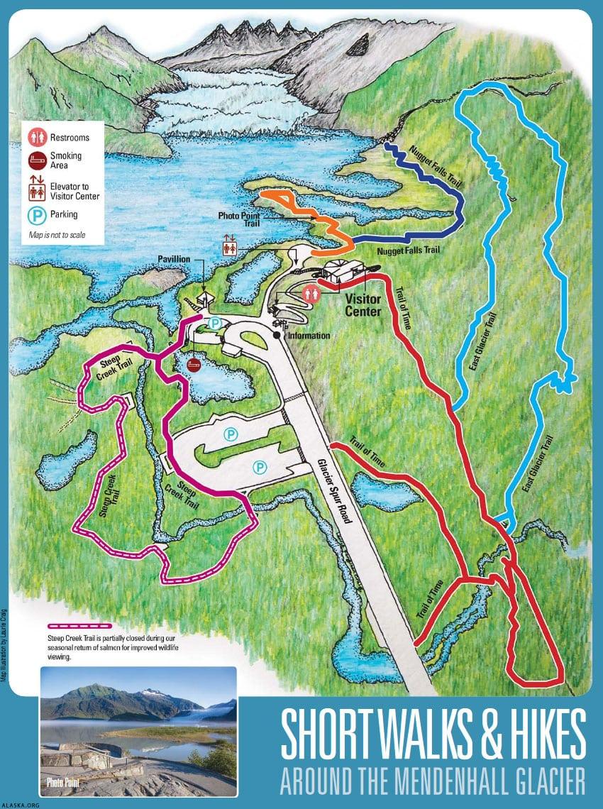Mendenhall Gletscher, Karte, Wanderwege, Alaska, USA, Reisebericht Juneau