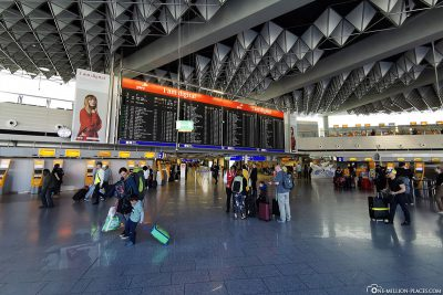 Departure hall with scoreboard at Frankfurt Airport