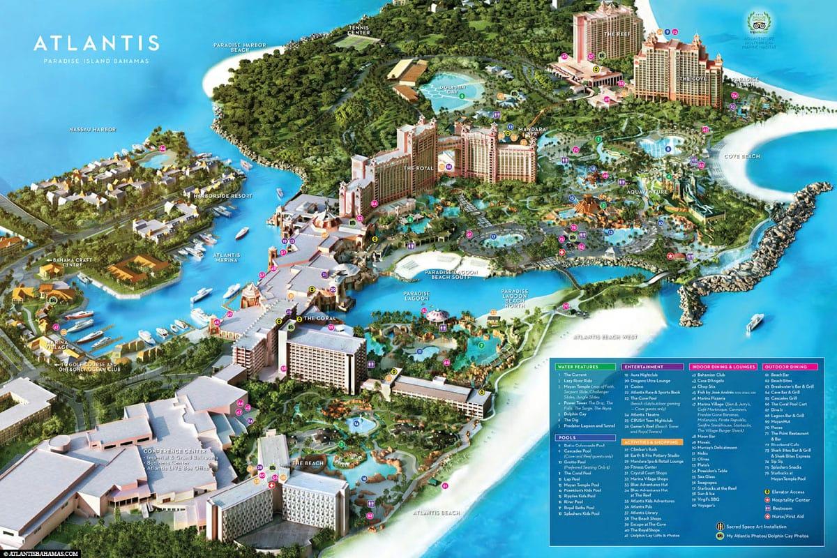Hotel Atlantis, Karte, Plan, Bahamas, Paradise Island