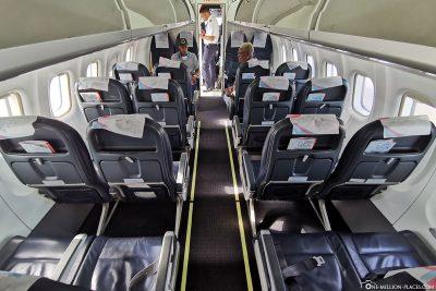 Die Kabine der Bahamasair Maschine