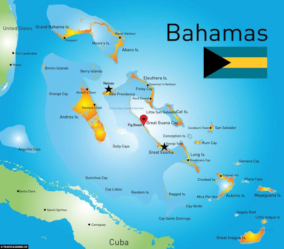 swimming Pigs, Map, Location, Bahamas, Travelreport