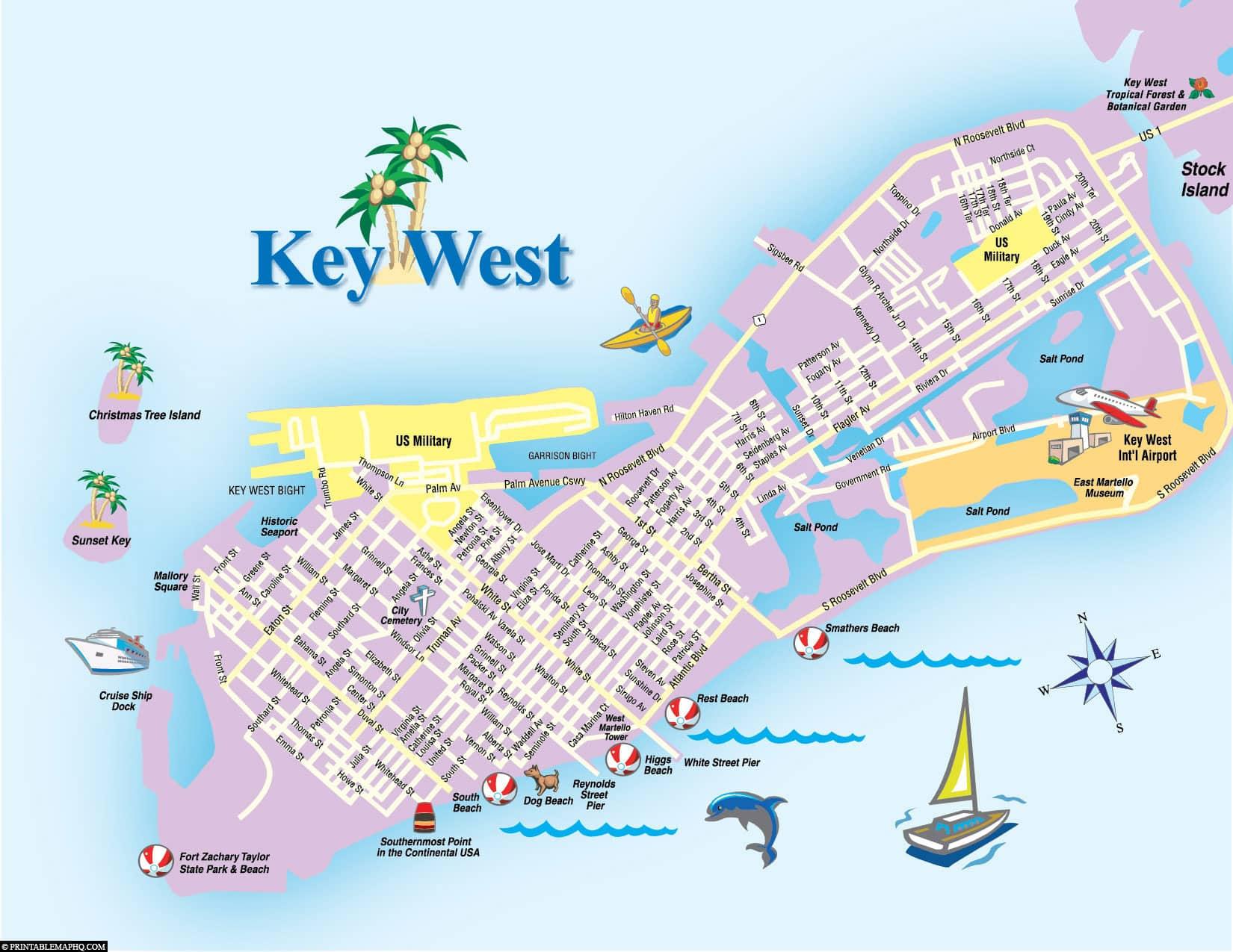 Key West, Map, Florida Keys, Plan, USA, Travelreport