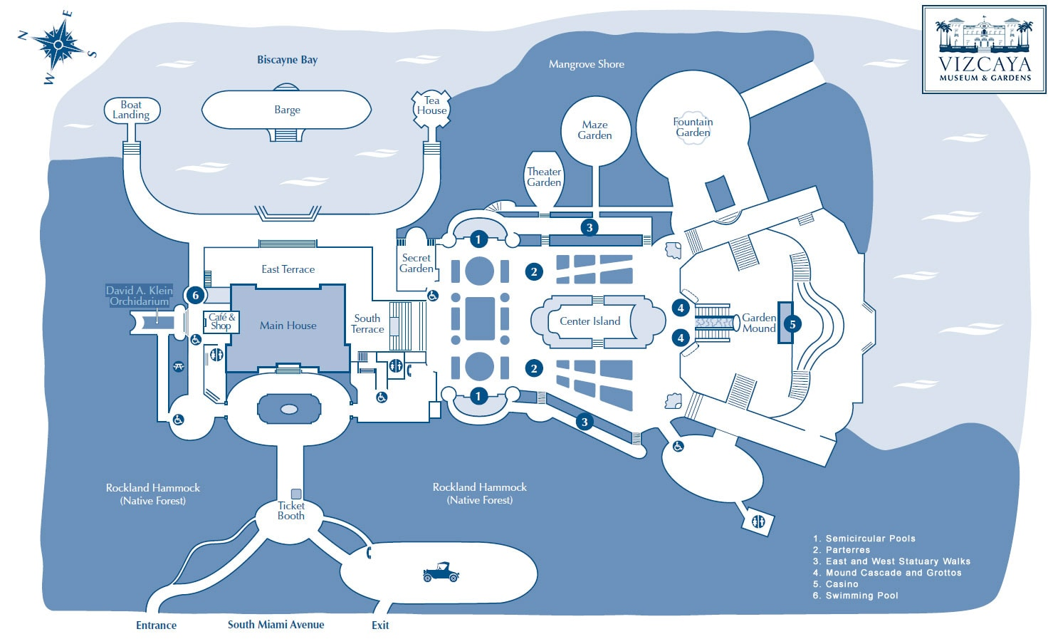 Karte, Map. Lageplan, Vizcaya Museum & Gardens, Reisebericht