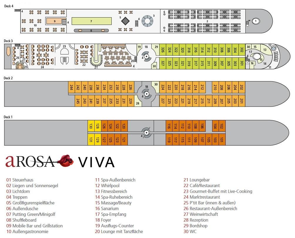 AROSA, VIVA, Plan, Distribution, Ship Map, Deck Plan, His River Cruise, France