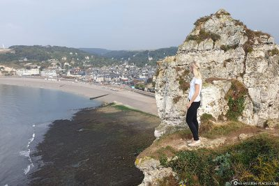View from the cliffs on the island of Etretat