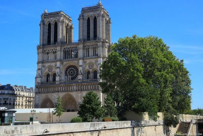 View of the fenced-in Notre Dame Cathedral