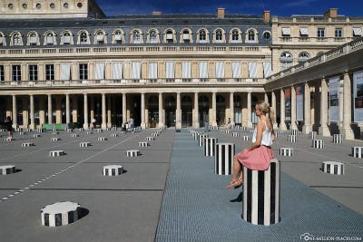 The black-and-white striped columns in the Palais Royal