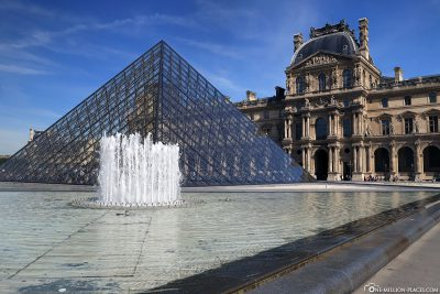 The Louvre with the glass pyramid in the centre