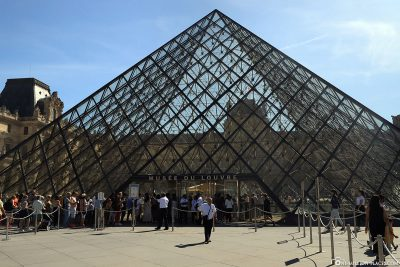 The main entrance to the Louvre Museum