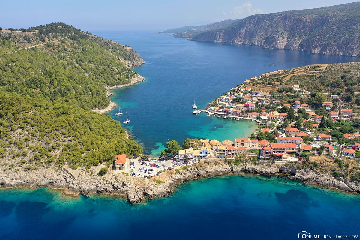 Assos, Kefalonia. Drone image, aerial view, travelogue