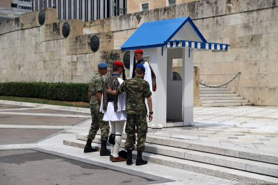 Changing of the guard at Syntagma Square in Athens