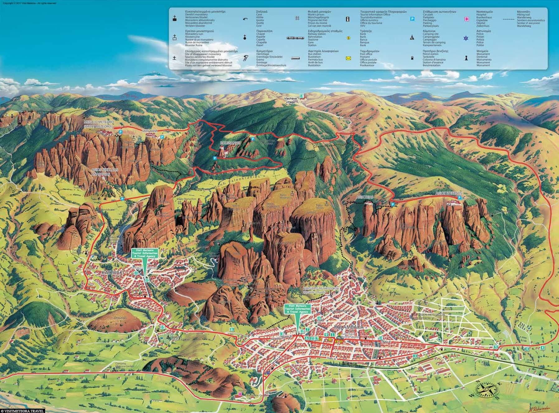 Karte, Meteora, Kalambaka, Kastraki, Reisebericht, Plan