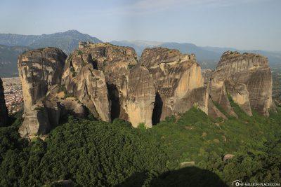 Blick auf die Felsen von Meteora