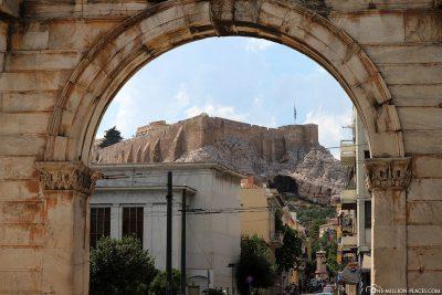 View of the Acropolis through Hadrian's Gate