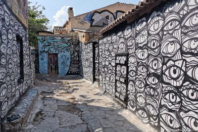 Graffiti in the historic district of Plaka in Athens