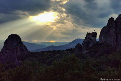 Sonnenuntergang über Meteora