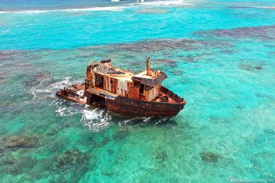 An old shipwreck on the beach