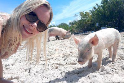 Selfie mit den schwimmenden Schweinen von Long Island