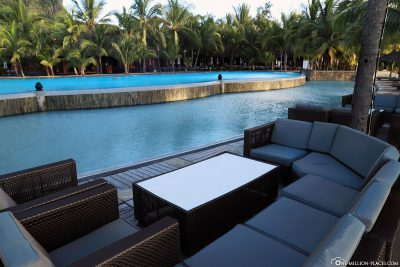 Lounge furniture at the main pool