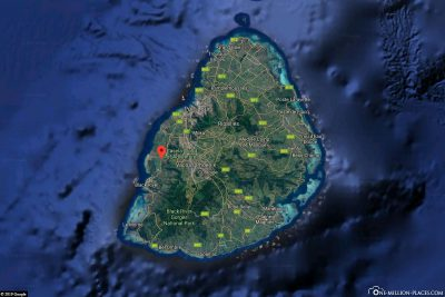 The location of Casela Park in the west of Mauritius
