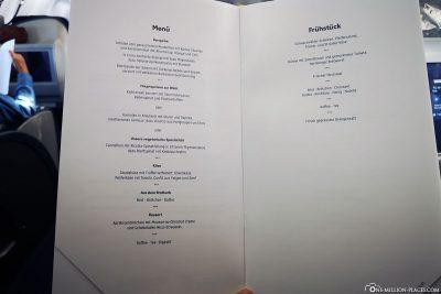 The menu in Business Class