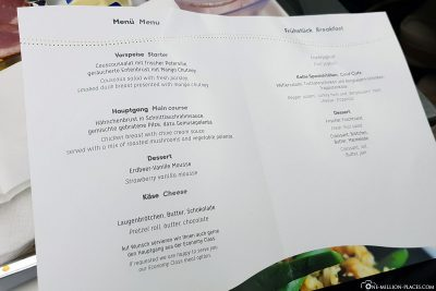 The menu card on the out-of-flight
