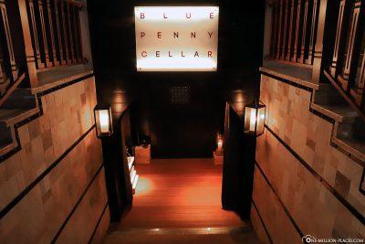 Weinprobe und Abendessen im Blue Penny Cellar